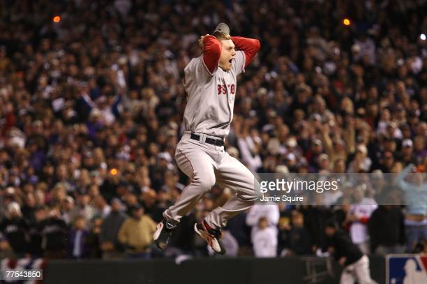 Jonathan Papelbon of the Boston Red Sox celebrates after winning Game Four by a score of the 43 to win the 2007 Major League Baseball World Series in...