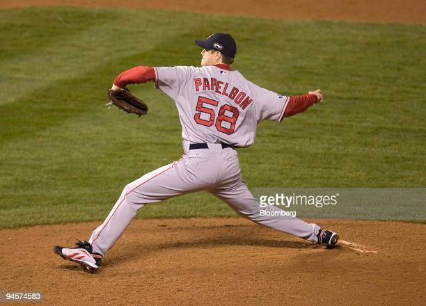Jonathan Papelbon of the Boston Red Sox pitches during Game 3 of the Major League Baseball World Series against the Colorado Rockies at Coors Field...