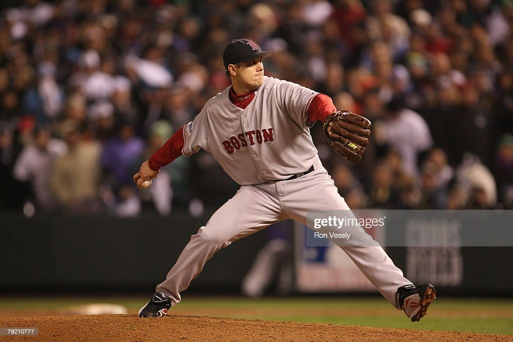 Jonathan Papelbon of the Boston Red Sox pitches during Game Three of the World Series against the Colorado Rockies at Coors Field in Denver, Colorado on October 27, 2007. The Red Sox defeated the Rockies 10-5.