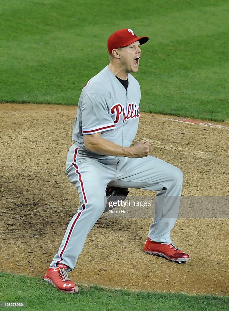 Jonathan Papelbon #58 of the Philadelphia Phillies celebrates his sixth save of the season against the Arizona Diamondbacks at Chase Field on May 11, 2013 in Phoenix, Arizona. Phillies won 3-1.