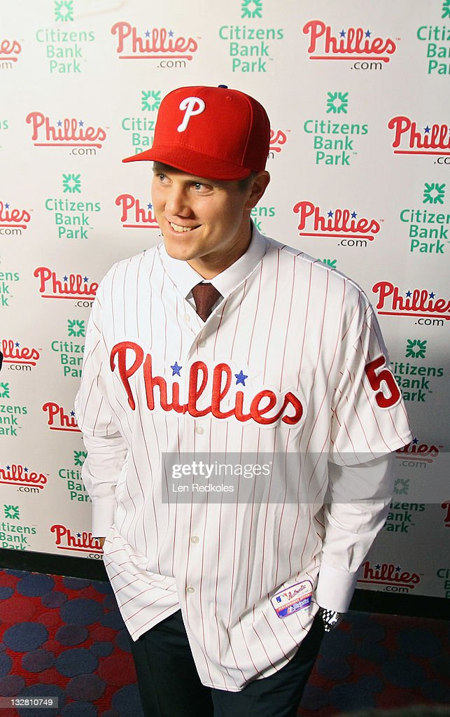 Jonathan Papelbon of the Philadelphia Phillies talks to the media as he discusses his four-year, $50,000,058 contract, at Citizens Bank Park on November 14, 2011 in Philadelphia, Pennsylvania.