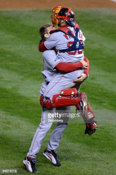 Jonathan Papelbon of the Red Sox celebrates after defeating the Colorado Rockies in Game 4 of the Major League Baseball World Series at Coors Field...