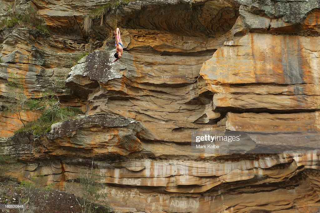 Jonathan Paredes of Mexico competes during the Red Bull Cliff Diving qualifying round in the Hawkesbury River on February 2, 2013 in Sydney, Australia.
