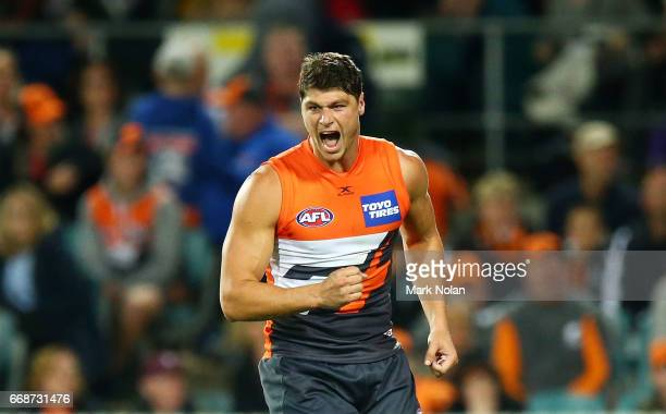 Jonathan Patton of the Giants celebrates kicking a goal during the round four AFL match between the Greater Western Sydney Giants and the Port...