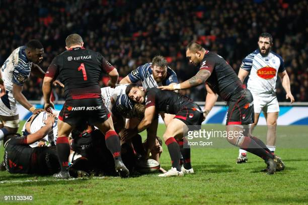Jonathan Pelissie of Lyon and Albertus Buckle of Lyon and Taiasina Tuifua of Lyon during the Top 14 match between Lyon and Agen at Gerland Stadium on...