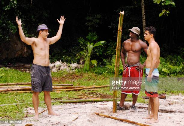 Jonathan Penner James Clement and Ozzy Lusth during the first episode of Survivor Micronesia Fans vs Favorites