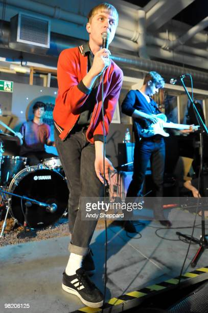 Jonathan Pierce and Adam Kessler of Brooklyn based band The Drums perform at Rough Trade East on April 1, 2010 in London, England.