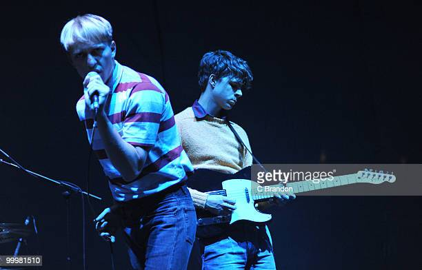 Jonathan Pierce and Adam Kessler of The Drums performs on stage at Hammersmith Apollo on May 14, 2010 in London, England.