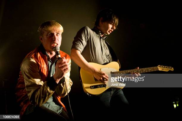 Jonathan Pierce and Tom Haslow of The Drums perform on stage at Razzmatazz on November 13, 2010 in Barcelona, Spain.