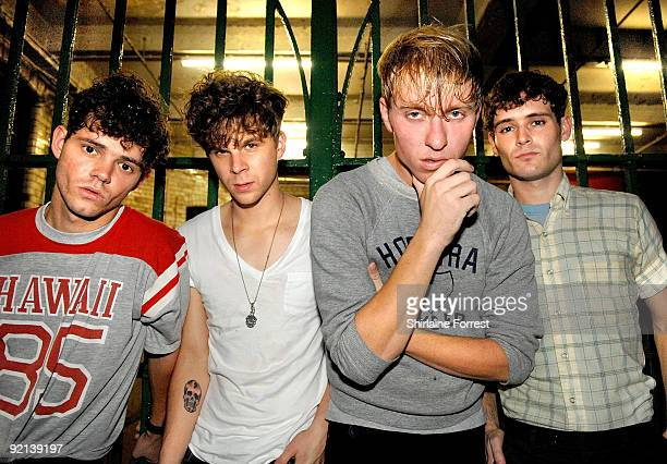 Jonathan Pierce, Jacob Graham, Adam Kessler and Connor Hanwick of The Drums pose backstage at Night & Day on Day 3 of 'In The City' on October 20,...