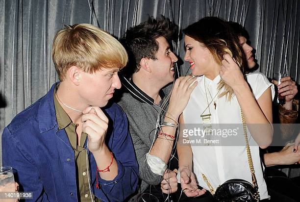 Jonathan Pierce, Nick Grimshaw and Caroline Flack atend the Wyld Bar NME Awards after party at W London Leicester Square on February 29, 2012 in...