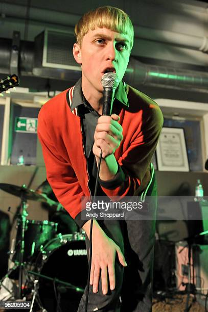 Jonathan Pierce of Brooklyn based band The Drums performs at Rough Trade East on April 1, 2010 in London, England.