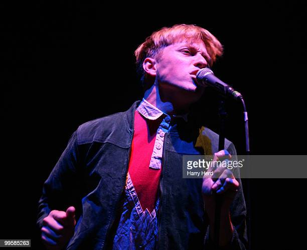 Jonathan Pierce of The Drums performs on stage at Hammersmith Apollo, London on May 15, 2010 in Southampton, England.