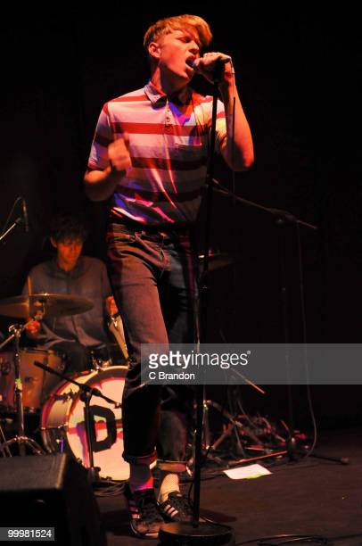 Jonathan Pierce of The Drums performs on stage at Hammersmith Apollo on May 14, 2010 in London, England.