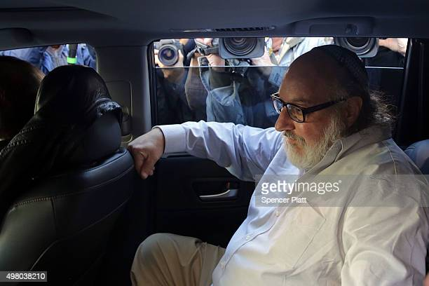 Jonathan Pollard, the American convicted of spying for Israel, sits in a car after leaving a New York court house following his release from prison...