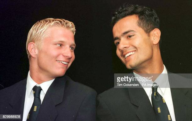 Jonathan Powell and Captain Owais Shah attend a news conferance after England's World Cupwinning under19 cricket squad returned today to Heathrow...