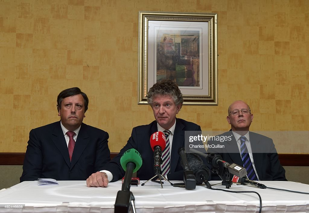 Jonathan Powell (2nd L), former chief of staff to Tony Blair answers questions from the media alongside David Campbell (L) who served as former chief of staff to Ulster Unionist party leader David Trimble and Richard Monteith (R) at the launch of the Loyalist Community Council at the Park Avenue Hotel on October 13, 2015 in Belfast, Northern Ireland. The council has the backing of the three main loyalist paramilitary groups, the UVF, the UDA and the Red Hand Commandos. A joint statement from the three loyalist groups said that they are 're-committing to the principals of the Belfast Agreement' and that they 'eschew all violence and criminality'. The launch of the new loyalist community council comes against the backdrop of an ongoing crisis at Stormont following following allegations that the IRA were involved in the murder of their former member Kevin McGuigan.