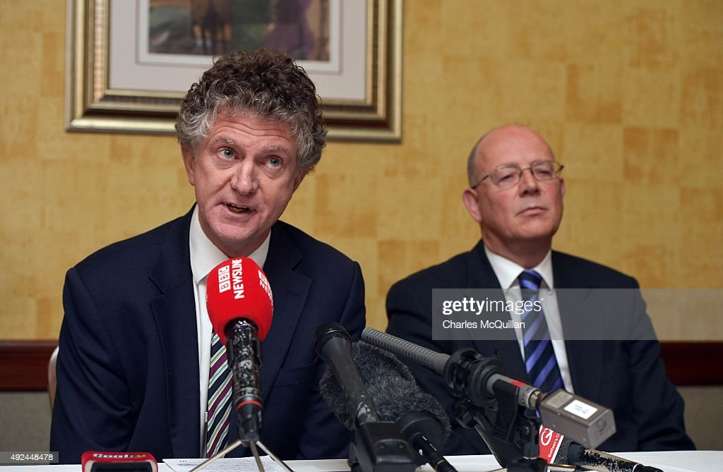 Jonathan Powell (L), former chief of staff to Tony Blair answers questions from the media alongside Richard Monteith (R) at the launch of the Loyalist Community Council at the Park Avenue Hotel on October 13, 2015 in Belfast, Northern Ireland. The council has the backing of the three main loyalist paramilitary groups, the UVF, the UDA and the Red Hand Commandos. A joint statement from the three loyalist groups said that they are 're-committing to the principals of the Belfast Agreement' and that they 'eschew all violence and criminality'. The launch of the new loyalist community council comes against the backdrop of an ongoing crisis at Stormont following following allegations that the IRA were involved in the murder of their former member Kevin McGuigan.