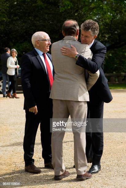 Jonathan Powell former Downing Street Chief of Staff and chief British negotiator on Northern Ireland greets Brian Currin member of the International...