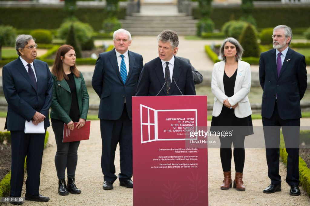 Jonathan Powell, former Downing Street Chief of Staff and chief British negotiator on Northern Ireland reads a statement during the International event to advance in the resolution of the conflict in the Basque Country organized by the International Contact Group on May 4, 2018 in Cambo-les-Bains, France. The summit aims to certify the definitive end of the terrorist group ETA as an organization. ETA released on May 3 a final declaration read by a historic leader Jose Antonio Urritikoetxea 'Josu Ternera'. ETA announced a permanent ceasefire in 2011. Created in 1959 at the height of the Spanish dictatorship of Francisco Franco, The Basque terrorist group was blamed for killing more than 800 people during its violence campaign for the independence of the Basque Country.