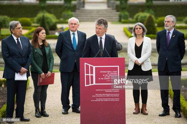 Jonathan Powell, former Downing Street Chief of Staff and chief British negotiator on Northern Ireland reads a statement during the International...