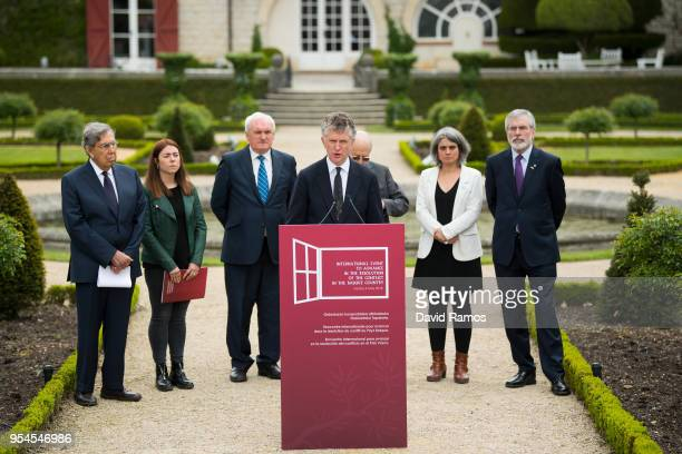 Jonathan Powell former Downing Street Chief of Staff and chief British negotiator on Northern Ireland reads a statement during the International...