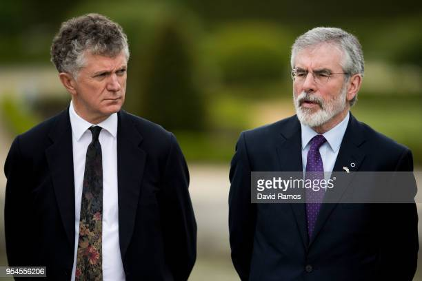 Jonathan Powell former Downing Street Chief of Staff and chief British negotiator on Northern Ireland and Gerry Adams former leader of Sinn Fein look...