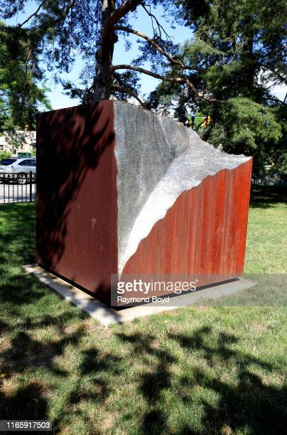 Jonathan Prince's 'Vestigial Block' sculpture sits outside the Eli and Edythe Broad Art Museum at Michigan State University in East Lansing Michigan...