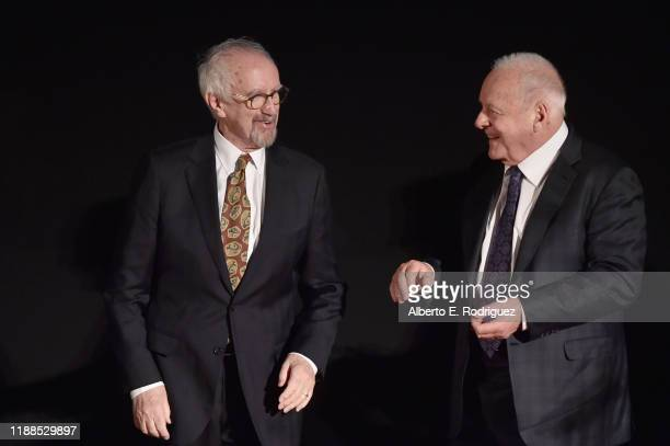 Jonathan Pryce and Anthony Hopkins attend The Two Popes premiere during AFI FEST 2019 presented by Audi at TCL Chinese Theatre on November 18 2019 in...