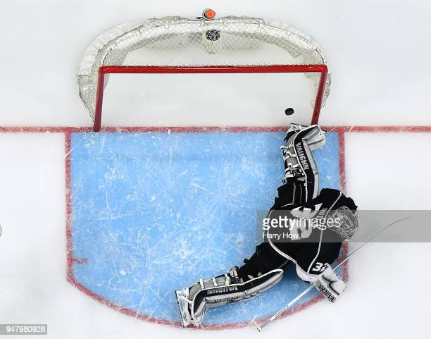 Jonathan Quick of the Los Angeles Kings allows a goal to Brayden McNabb of the Vegas Golden Knights for a 10 lead during the second period in Game...