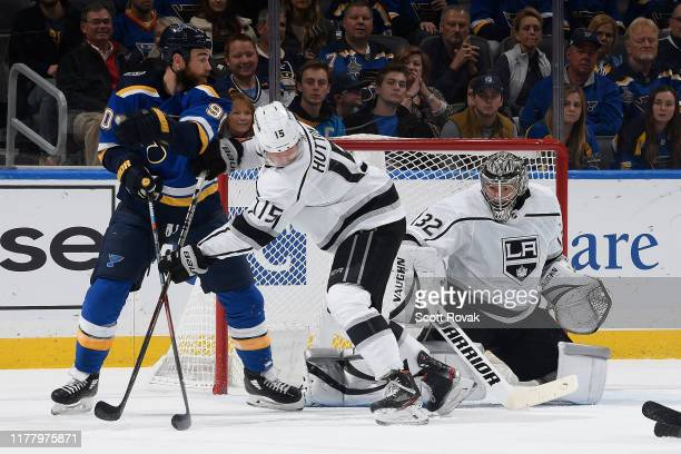 Jonathan Quick of the Los Angeles Kings and Ben Hutton of the Los Angeles Kings defend the net against Ryan O'Reilly of the St. Louis Blues at...