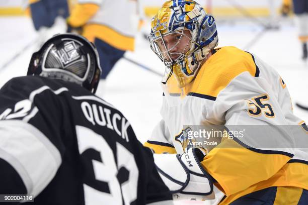 Jonathan Quick of the Los Angeles Kings converses with Pekka Rinne of the Nashville Predators before a game at STAPLES Center on January 6 2018 in...