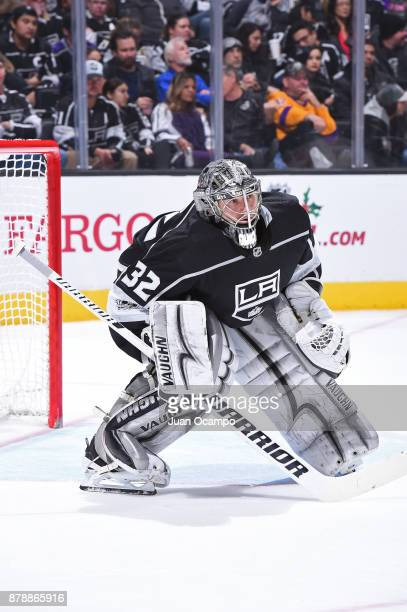 Jonathan Quick of the Los Angeles Kings defends the net during a game against the Winnipeg Jets at STAPLES Center on November 22 2017 in Los Angeles...