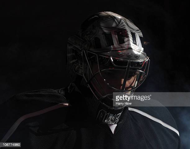 Jonathan Quick of the Los Angeles Kings enters the ice against the Dallas Stars at the Staples Center on November 11 2010 in Los Angeles California
