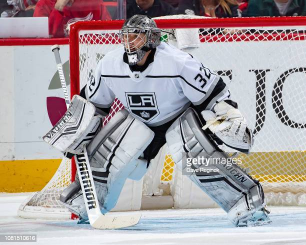 Jonathan Quick of the Los Angeles Kings follows the play against the Detroit Red Wings during an NHL game at Little Caesars Arena on December 10 2018...