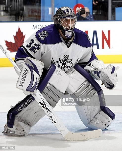 Jonathan Quick of the Los Angeles Kings gets ready for a faceoff during the game against the Toronto Maple Leafs on January 26 2010 at the Air Canada...