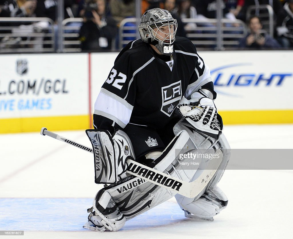 Jonathan Quick #32 of the Los Angeles Kings in goal during the game against the St. Louis Blues at Staples Center on March 5, 2013 in Los Angeles, California.