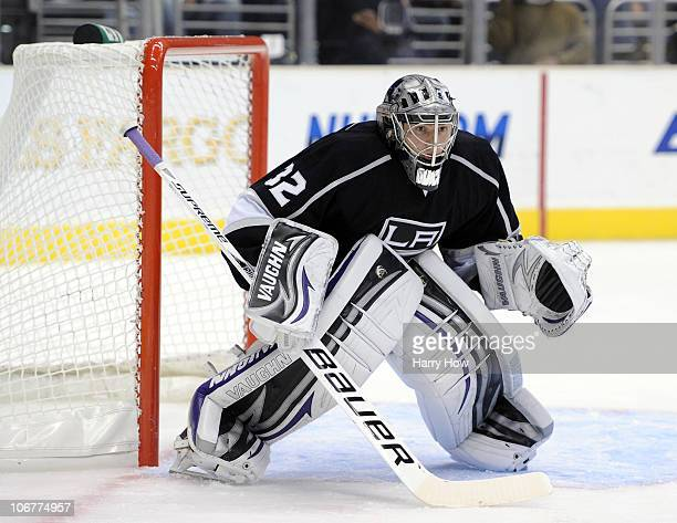 Jonathan Quick of the Los Angeles Kings in goal in a 31 win against the Dallas Stars at the Staples Center on November 11 2010 in Los Angeles...