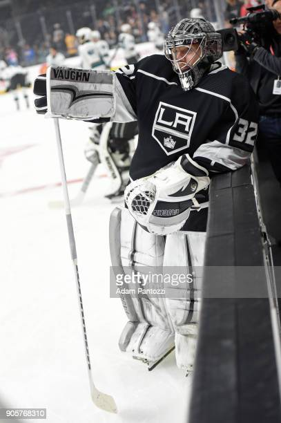 Jonathan Quick of the Los Angeles Kings looks on before a game against the San Jose Sharks at STAPLES Center on January 15 2018 in Los Angeles...