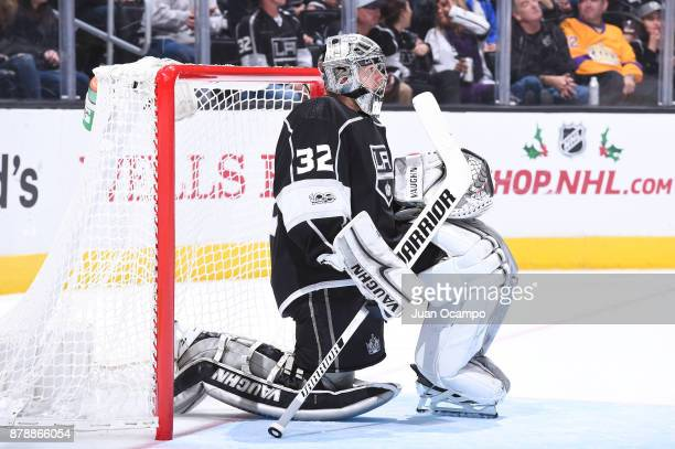 Jonathan Quick of the Los Angeles Kings looks on during a game against the Winnipeg Jets at STAPLES Center on November 22 2017 in Los Angeles...