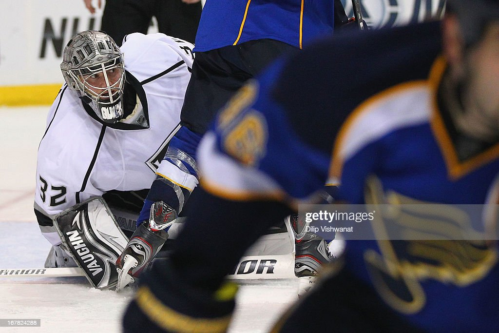 Jonathan Quick #32 of the Los Angeles Kings looks to make a save against the St. Louis Blues in Game One of the Western Conference Quarterfinals during the 2013 NHL Stanley Cup Playoffs at the Scottrade Center on April 30, 2013 in St. Louis, Missouri. The Blues beat the Kings 2-1 in overtime.
