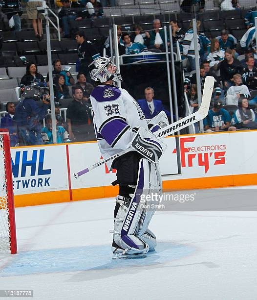 Jonathan Quick of the Los Angeles Kings looks up at the scoreboard against the San Jose Sharks in Game 5 of the Western Conference Quarterfinals...