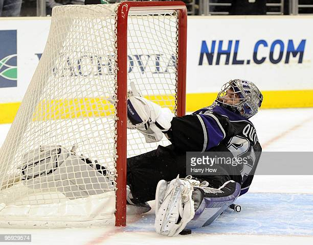 Jonathan Quick of the Los Angeles Kings makes a game winning save on Tim Connolly of the Buffalo Sabres to preserve a 43 in during the overtime...