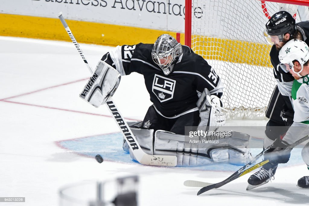 Jonathan Quick #32 of the Los Angeles Kings makes a save during a game against the Dallas Stars at STAPLES Center on April 7, 2018 in Los Angeles, California.