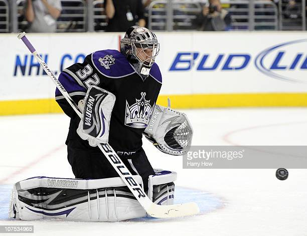 Jonathan Quick of the Los Angeles Kings makes a save during the game against the Minnesota Wild during the first period at the Staples Center on...