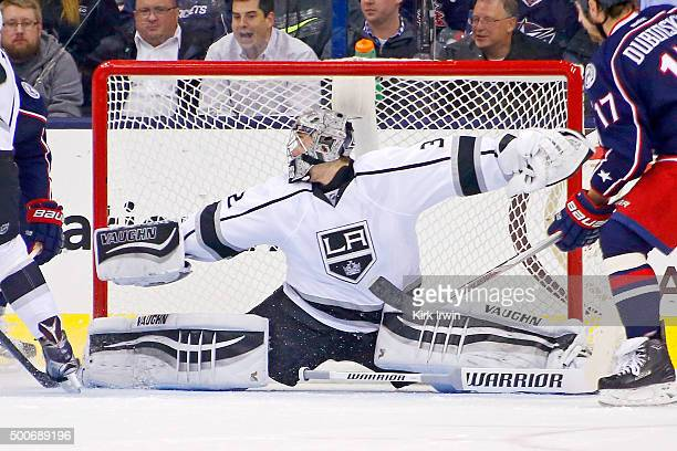 Jonathan Quick of the Los Angeles Kings makes a save during the game against the Columbus Blue Jackets on December 8 2015 at Nationwide Arena in...