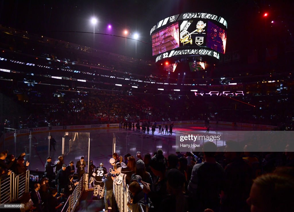 Jonathan Quick #32 of the Los Angeles Kings makes his way to the ice during opening night of the Los Angeles Kings 2017-2018 season at Staples Center on October 5, 2017 in Los Angeles, California.