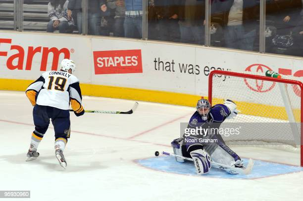 Jonathan Quick of the Los Angeles Kings makes the game winning save during the shootout against Tim Connolly of the Buffalo Sabres on January 21 2010...
