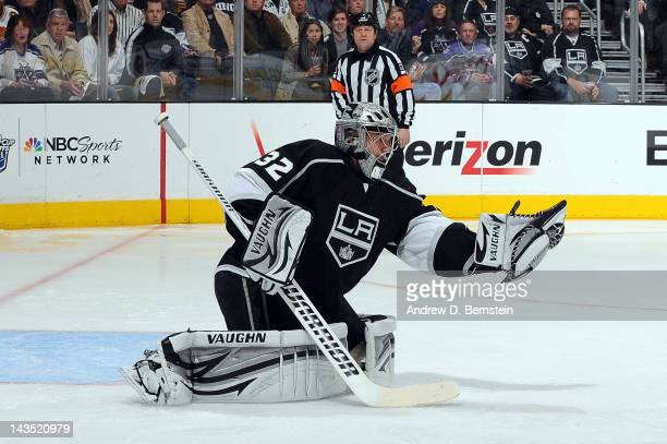 Jonathan Quick of the Los Angeles Kings makes the save against the Vancouver Canucks in Game Four of the Western Conference Quarterfinals during the...