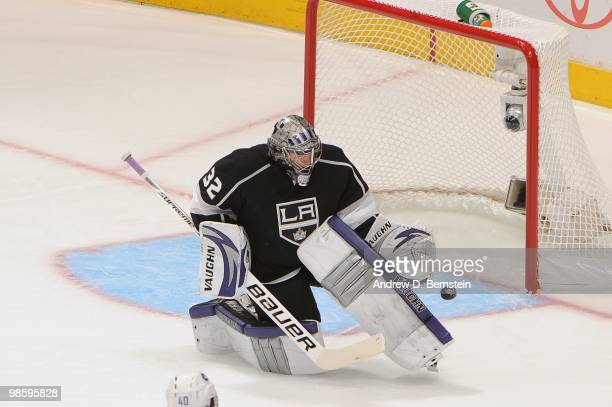 Jonathan Quick of the Los Angeles Kings makes the save against the Vancouver Canucks in Game Three of the Western Conference Quarterfinals during the...